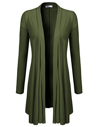 H2H Women's Extra Soft Natural Bamboo Long Open Front Cardigan Olive US L/Asia L (CWOCAL072)