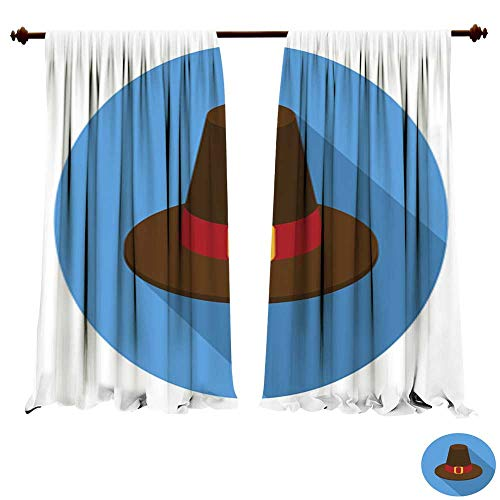 DragonBuildingMaterials Window Curtains for Bedroom Pilgrim hat icon in Flat Style Isolated on White Background Art Pictures Prints Fashion Style