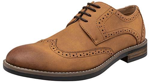 VOSTEY Mens Oxford Wingtip Brogue Suede Dress Shoes for Men (10.5,Brown)