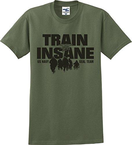 Utopia Sport Train Insane US Navy Seal Team T-Shirt (S-5X) (Medium, Military Green)