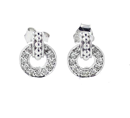 14K White Gold Diamond Earrings for Women Round Circle Millgrain Style 1/4ctw Diamonds 12.5mm ()