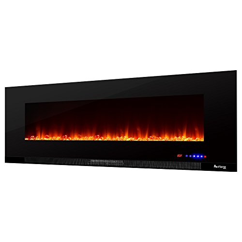 e-Flame Wall Mount Electric Fireplace Wide LED a Digital Screen, Remote Control, Heater/Fan Realistic Fire and