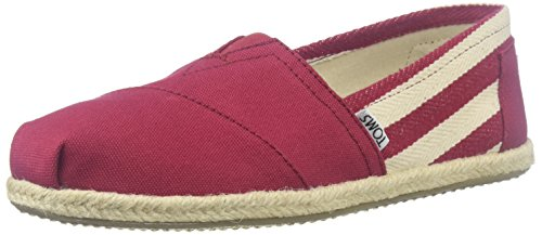 Image of TOMS Women's 10005421 Red Stripe University Alpargata Flat