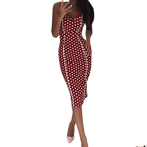 Londony ✡ Women's Casual Loose Long Dress Sleeveless Split Maxi Dresses Midi Dress Summer Polka Dot Vintage Wrap Dress Wine
