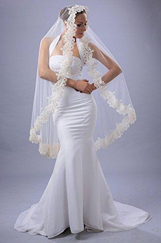 Bridal Wedding Mantilla Veil White 1 Tier Long Knee Length Beaded Lace Edge by Velvet Bridal (Image #1)