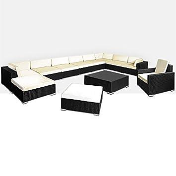 Amazon.de: XXL Poly Rattan Lounge 35 tlg Sitzgruppe Sitzgarnitur ...