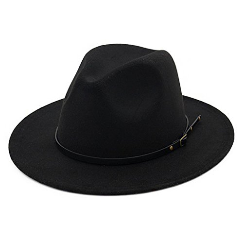 Lisianthus Women Belt Buckle Fedora Hat Black -