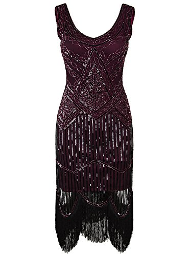 Vijiv Women's 1920s Gastby Inspired Sequined Embellished Fringed Flapper Dress,Wine Red,X-Large