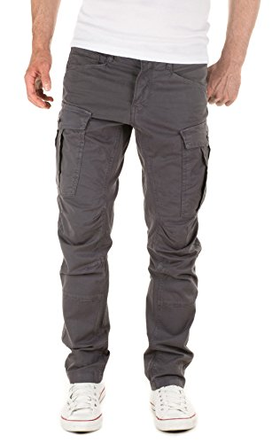 Yazubi Men's Casual Cargo Trousers Chino Jayden, Grey (Castlerock Grey 0201R), W30/L34