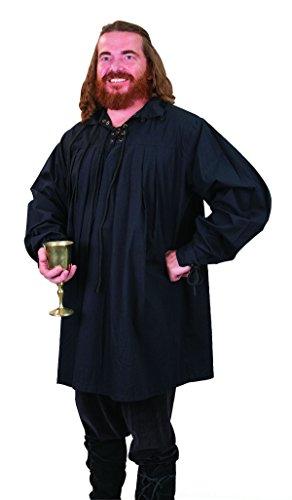 Swordsman's Shirt - Renaissance Shirt - BLACK - Medium (Period Clothing) ()