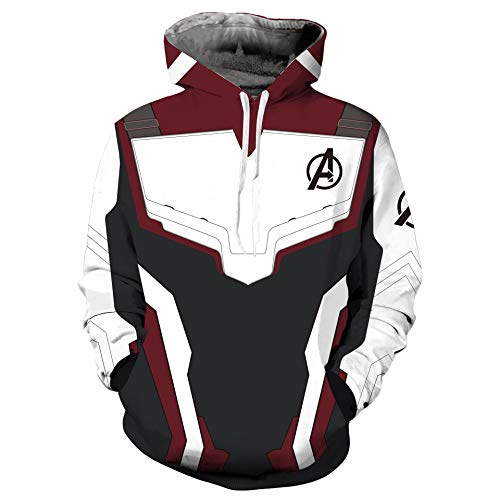 Avenger's Endgame Hoodie Quantum Realm Cosplay Costume 3D Print Zipper Jacket Pullover Sweatshirt (C, 5XL)