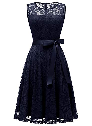 Dressystar 0009 Floral Lace Dress Short Bridesmaid Dresses with Sheer Neckline Navy M