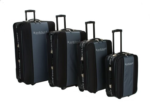 Rockland Luggage Polo Equipment 4 Piece Luggage Set, Blac...
