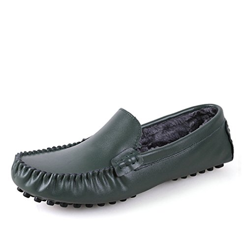 Cuir Green Drivng Taille Mode Zapatos Grande Fur Occasionnels Appartements Véritable Mo Chaussures 35~47 Hommes Mocassins Mocassins Hommes Chaussures Lumino qRAHEvw