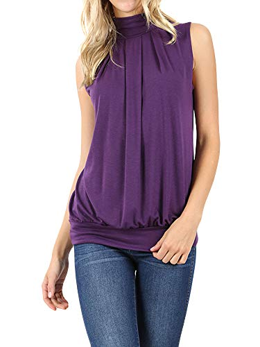 The Lovely Women Sleeveless Mock-Turtleneck Pleated Top with Waistband (DK Purple, L)