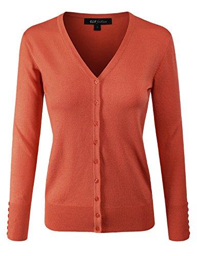 ELF FASHION Women Top Long Sleeve Button V-Neck Knit Sweater Cardigan (size S~3XL) Orange 3XL