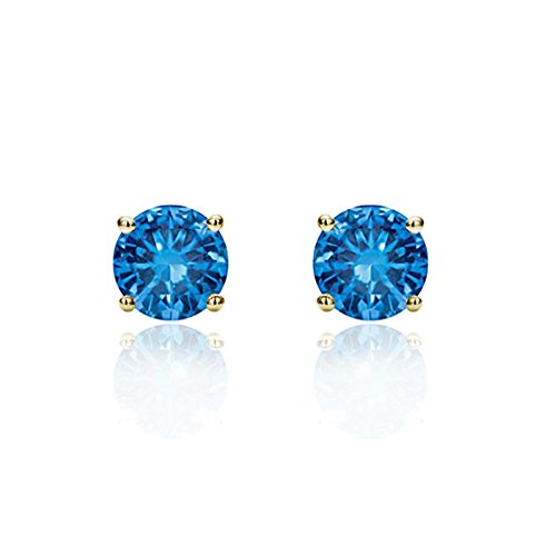 December Ring 14k Birthstone - 14K Yellow Gold 3mm Round Cubic Zircornia Prong Set Solitaire Screwback Stud Earrings - Light Blue