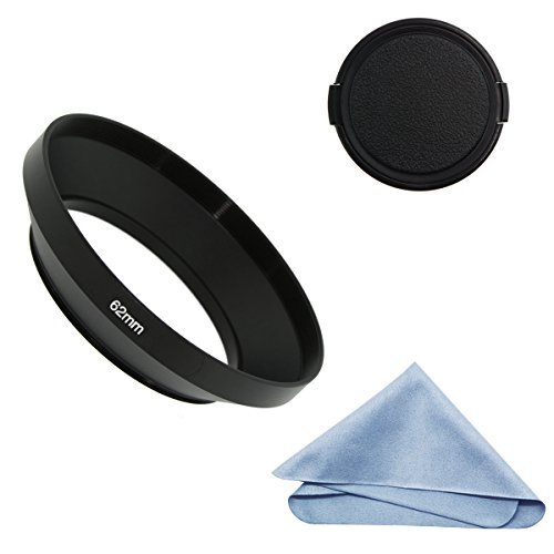 SIOTI Camera Wide Angle Metal Lens Hood + Cleaning Cloth + Lens Cap for Nikon Canon Sony Fuji Pentax Sumsung Leica Standard Thread Lens (62mm)