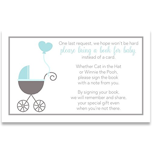 Baby Carriage 3 24 Shower - Bring A Book Cards, Baby Shower Invitation Book Inserts, Buggy Baby, Carriage, Stroller, Baby Boy, Blue, White, Grey, Gray, 24 Printed Cards
