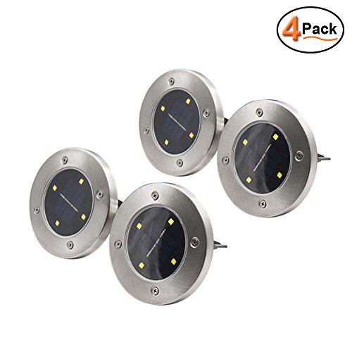 MAGGIFT Solar Ground Lights,Garden Pathway Outdoor In-Ground Lights With 4 LED (4 pack)