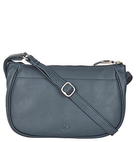 VOi Umhängetasche 21504 Leder Damen RV-Tasche elegante Schultertasche aus weichem Soft Leder in Blau
