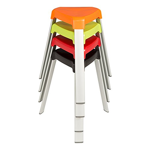 Norwood Commercial Furniture 3-Leg Plastic Stack Stools w/ Aluminum Legs, Red/Orange/Green/Black, NOR-OAH1000AC (Pack of 4) ()