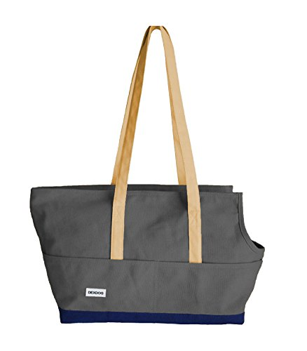 (DEXDOG Portable Travel Pet Carrier Canvas Comfortable, Soft Sided, Tote Carrier Bag | Ideal for Shopping, Subway, Train, Walking (Large, Dark Grey & Navy) Updated 2019)