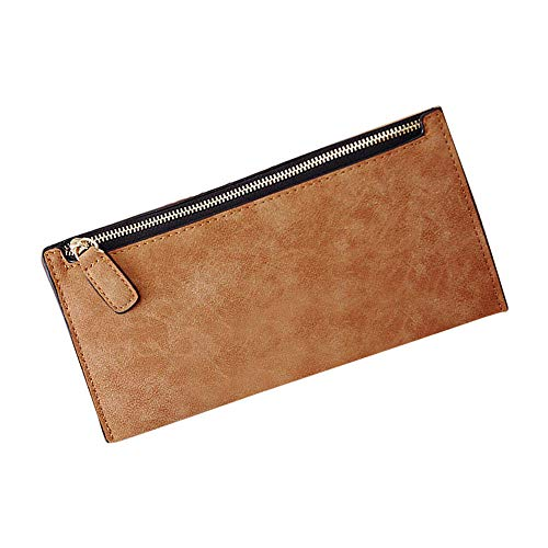 Fashion Women PU Leather Wallet Zipper Card Holder Change Purse Clutch Handbags (Color - Brown)