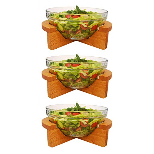 The Mammoth Design Wooden Tapas Salad Serving Bowl Set of 3