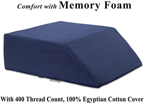 """InteVision Ortho Bed Wedge Pillow (8"""" x 21"""" x 24"""") with, 400 Thread Count, Egyptian Cotton Cover"""