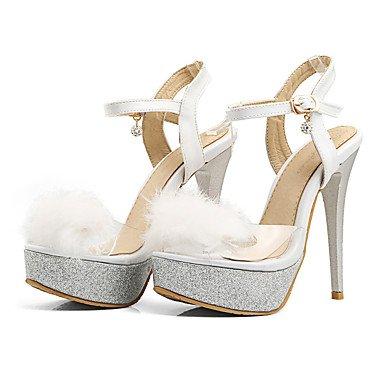 LvYuan Mujer-Tacón Stiletto-Zapatos del club-Sandalias-Oficina y Trabajo Vestido Fiesta y Noche-PU-Negro Rojo Blanco White