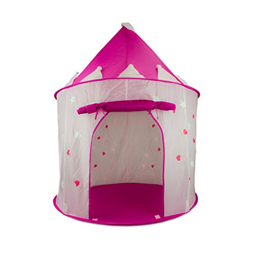 Compra FoxPrint Princess Castle Play Tent with Glow in the Dark Stars, convinientlly folds in to a Carrying Case, your kids will enjoy this Foldable Pop Up pink play tent/house toy for Indoor & Outdoor Use en Usame