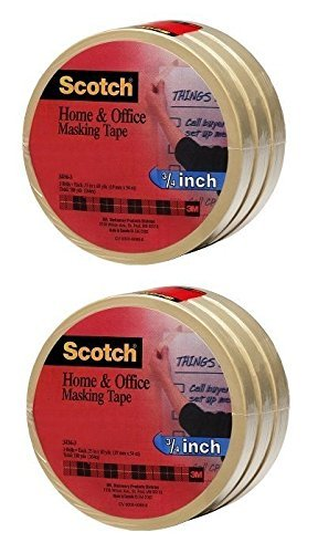 Scotch(R) Home and Office Masking Tape 3436-3, 3/4-inch x 60 Yards, 6 Rolls by Scotch