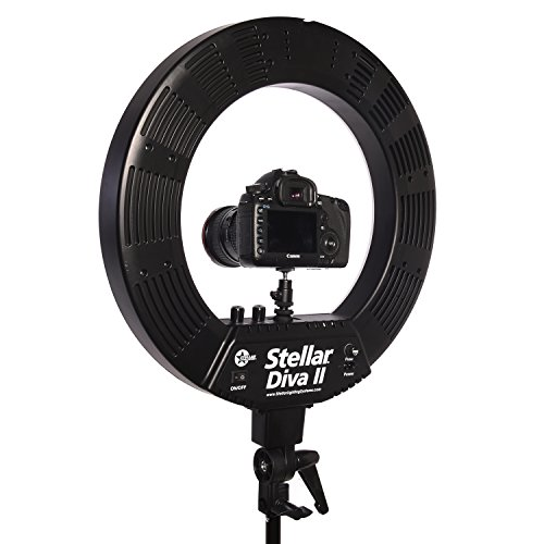 Stellar 18'' LED Diva II Ring Light (Black) w/Wireless Bluetooth Camera Shutter Remote Control for IOS & Android Phones and Universal Smartphone Tripod Mount & Adapter For Most Smartphones by Calumet (Image #2)