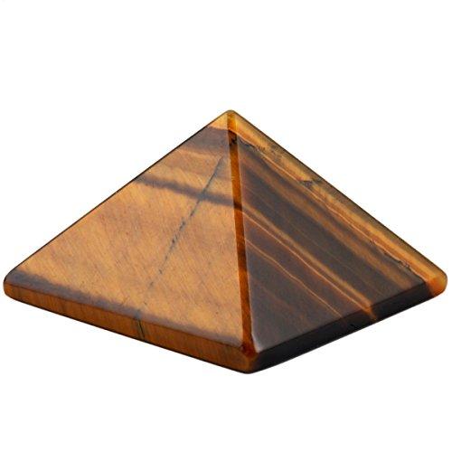 Tiger Eye Amulet (SUNYIK Tiger's Eye Gemstone Pyramid Healing Figurine 1-1 1/8 inch)