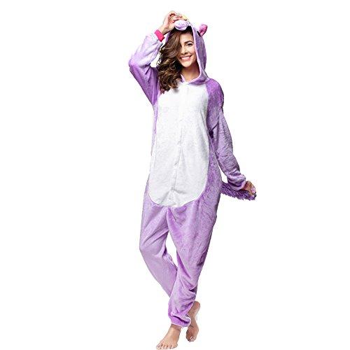 Christmas Adults Unisex Animal Flannel Unicorn Onesie Pajamas Cosplay Costume(M,Purple Unicorn) -