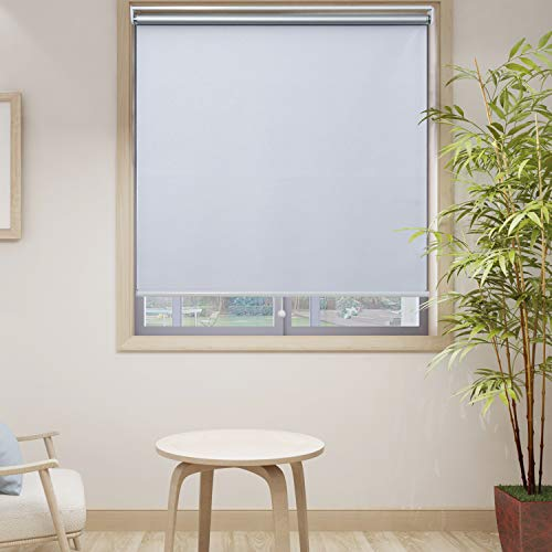 HOMEDEMO Blackout Window Shades Cordless UV Roller Shades & Blinds, White 46W x 72H, Room Darkening Spring Shade for Office, Bedroom, Kitchen