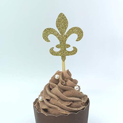 (Glitter Gold Fleur De Lis Cupcake Toppers French Party Birthday Picks Decorations )