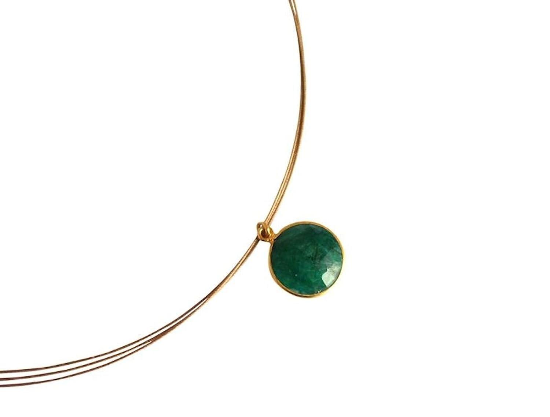 Gemshine Collar con colgante de esmeralda natural oro de kt color de