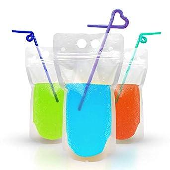 Amazon.com: 100 bolsas de bebida con pajitas – Soporta ...