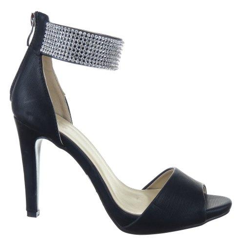 Sopily - Zapatillas de Moda Tacón escarpín Stiletto Tobillo mujer strass 10 CM - Negro