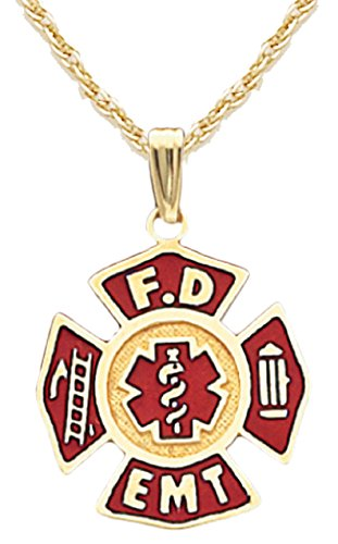 US Jewels And Gems 10k Yellow Gold Red Fire Department FD EMT Badge Charm Pendant 1.2mm Rope Chain Necklace