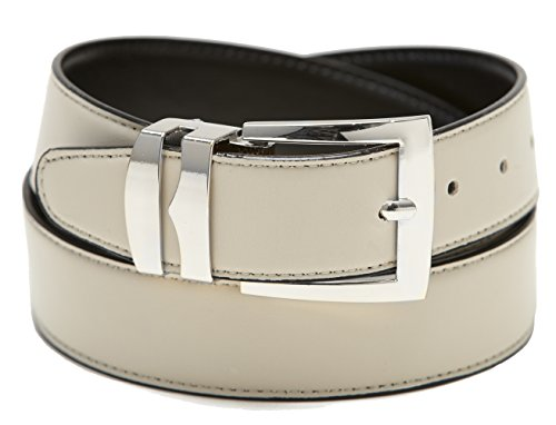 [Men's Belt Reversible Wide Bonded Leather Silver-Tone Buckle CREAM / Black 38] (Silver Tone Buckle)