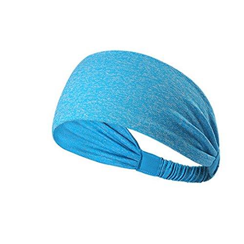 Syban Women Cotton Knotted Turban Head Warp Hair Band Wide Elastic Headband Sport Yoga (Sky Blue)