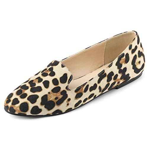 Allegra K Women's Printed Slip On Round Toe Loafers Leopard-2 Flat Shoes - 7.5 M US