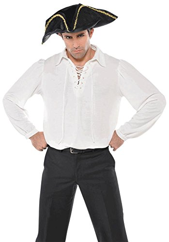 [White Pirate Shirt Costume - Standard - Chest Size 42] (Medieval Shirt Adult Costumes)