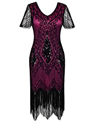 Black Rose 1920s Sequin Art Dress with Sleeve