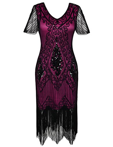 PrettyGuide Women's 1920s Dress Art Deco Cocktail Dress Short Sleeve XL Black Rose