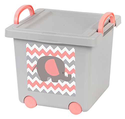 IRIS Baby Toy Storage Box, Gray/Pink