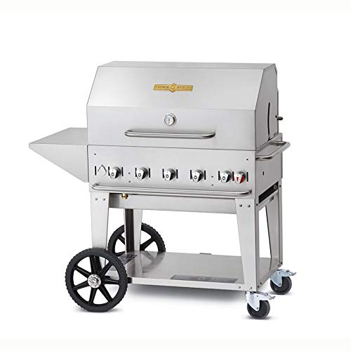 Crown Verity CV-MCB-36PKG 5-PC Grill Package with CV-MCB-36-LP Liquid Propane Grill Removable End Shelf BBQ Cover Bun Rack and Roll Dome in Stainless